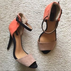 Zara Peep Toe Color Block Heels Sandals
